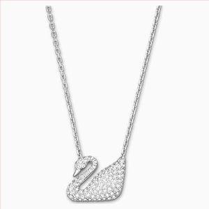 Swarovski Swan Necklace, White, Rhodium Plated